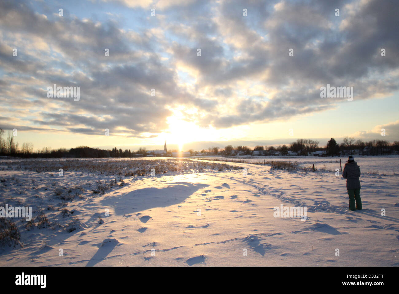 A sunset during winter in St. Agathe, Quebec. THE CANADIAN PRESS IMAGES/Lee Brown - Stock Image
