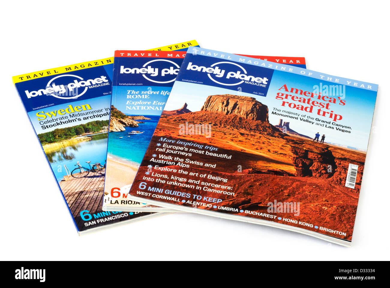 Lonely Planet travel magazines - Stock Image