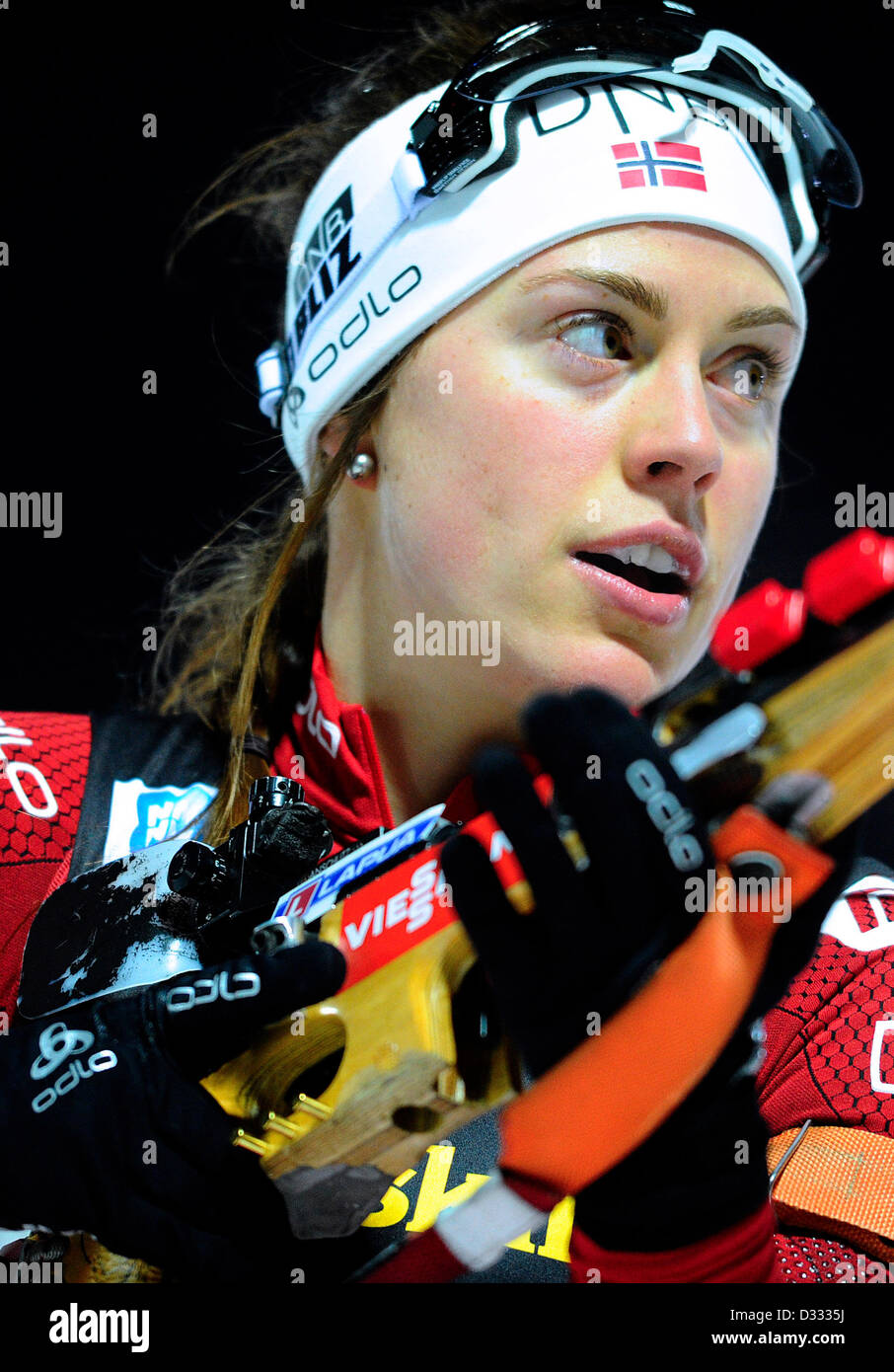 Synnoeve Solemdal of Norway competes during the 2x6km + 2x7.5km mixed relay at the Biathlon World Championship in - Stock Image