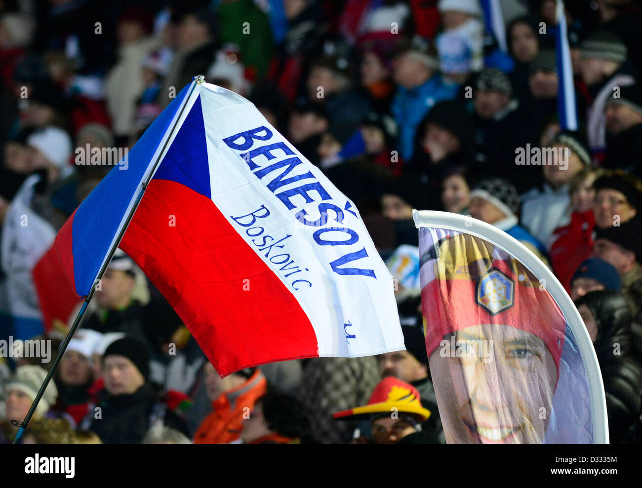Fans react during the 2x6km + 2x7.5km mixed relay at the Biathlon World Championship in Nove Mesto na Morave, Czech - Stock Image