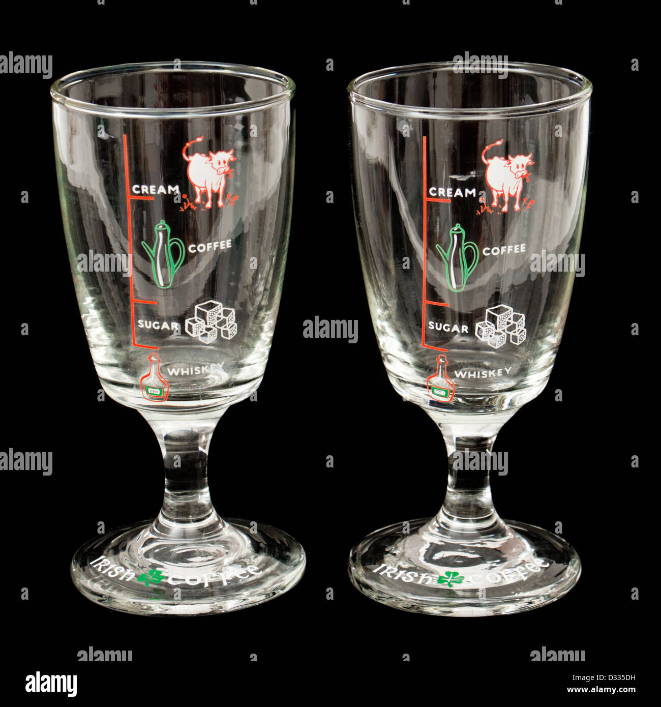 Pair Of Irish Coffee Glasses With Markings For Whiskey