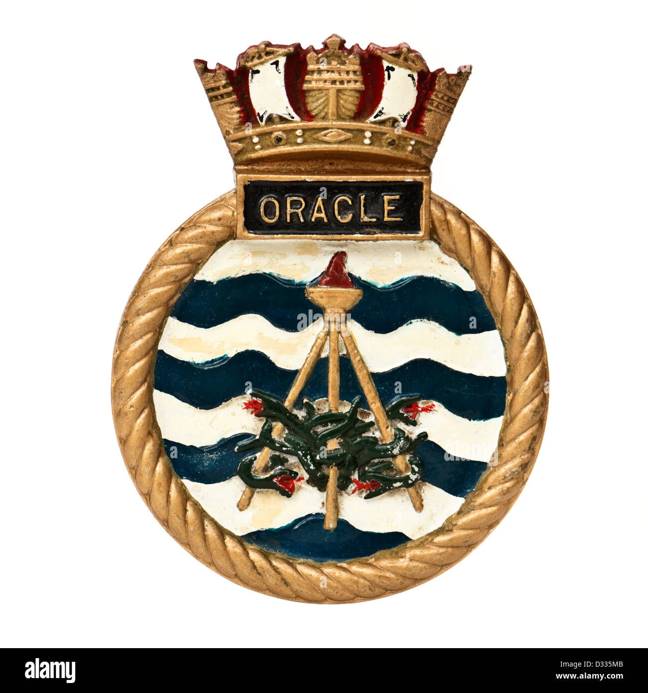 Crest of HMS Oracle, an Oberon-class submarine (S-16) of the British Royal Navy (in service from 1963 to 1993) - Stock Image