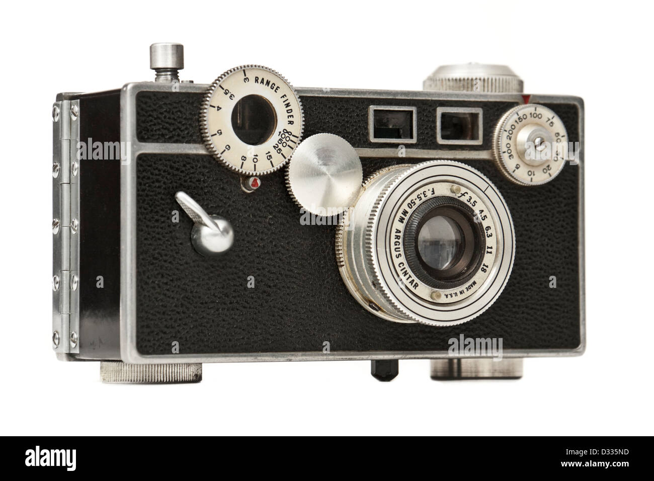 Vintage Argus C2 (aka 'The Brick') 35mm film camera with coupled rangefinder from 1938-1942 - Stock Image