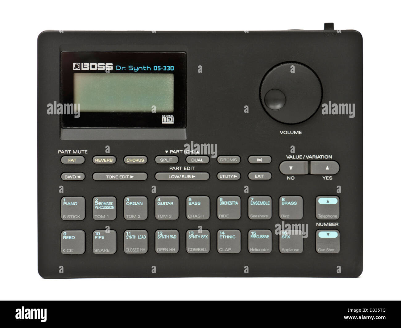 Boss Dr. Synth DS-330 portable synthesizer module (1992), one of the great synthesizers of the 1990's. - Stock Image
