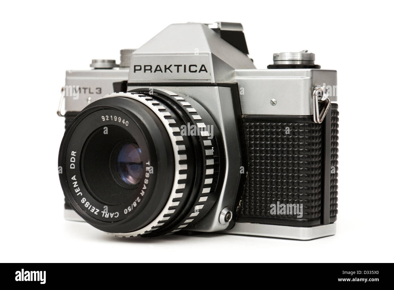 Vintage late 1970's Praktica MTL3 single lens reflex (SLR) 35mm film camera, made by Pentacon in East Germany (DDR) Stock Photo