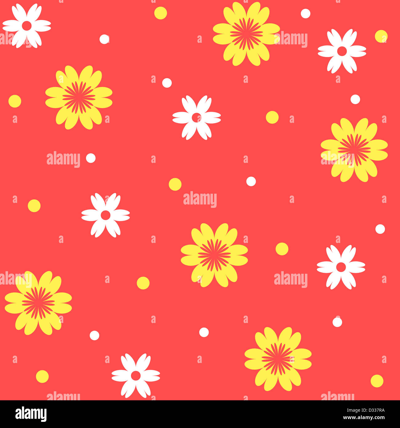 Yellow and white floral pattern on orange Stock Photo