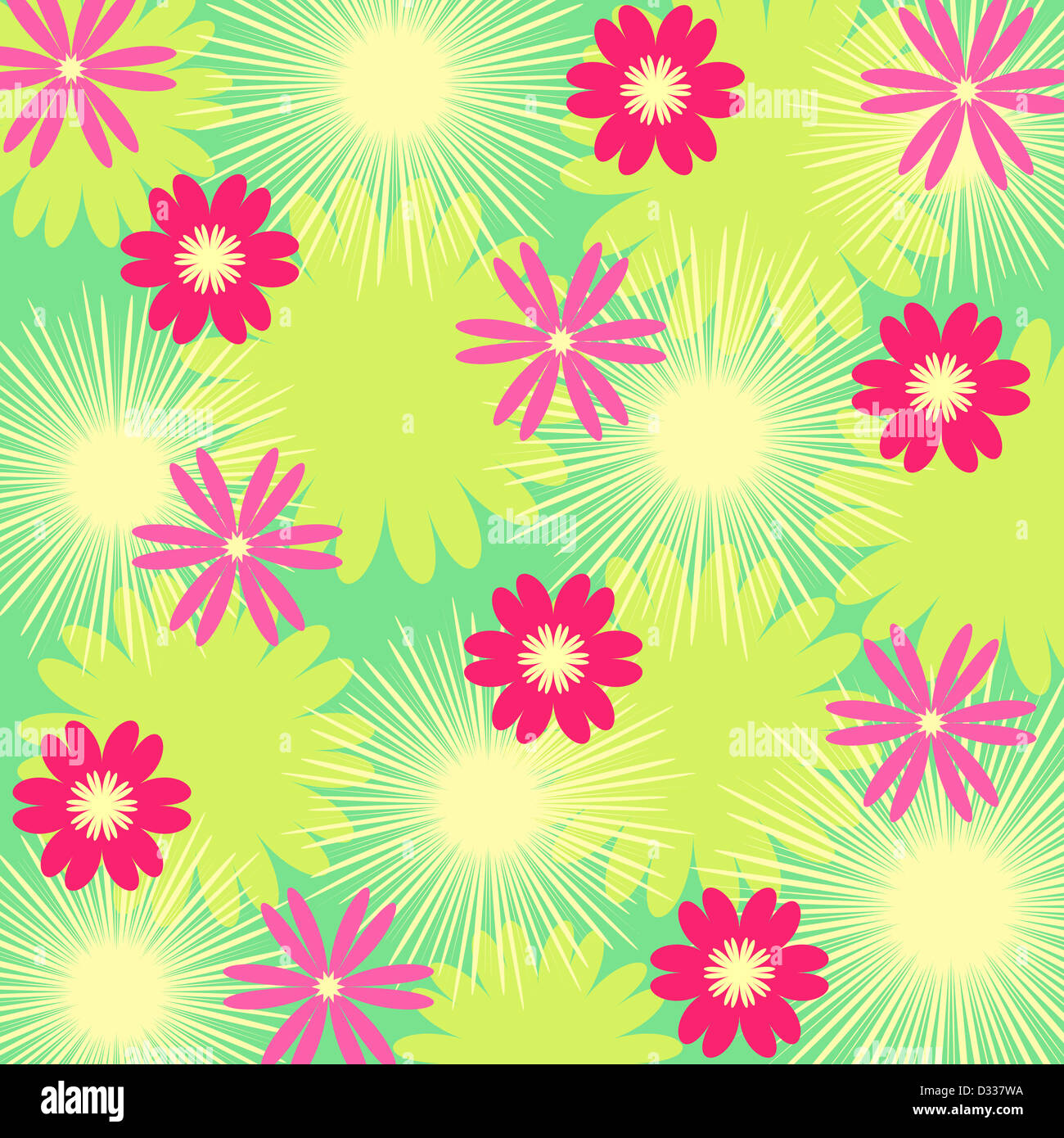 Pink floral pattern on green Stock Photo