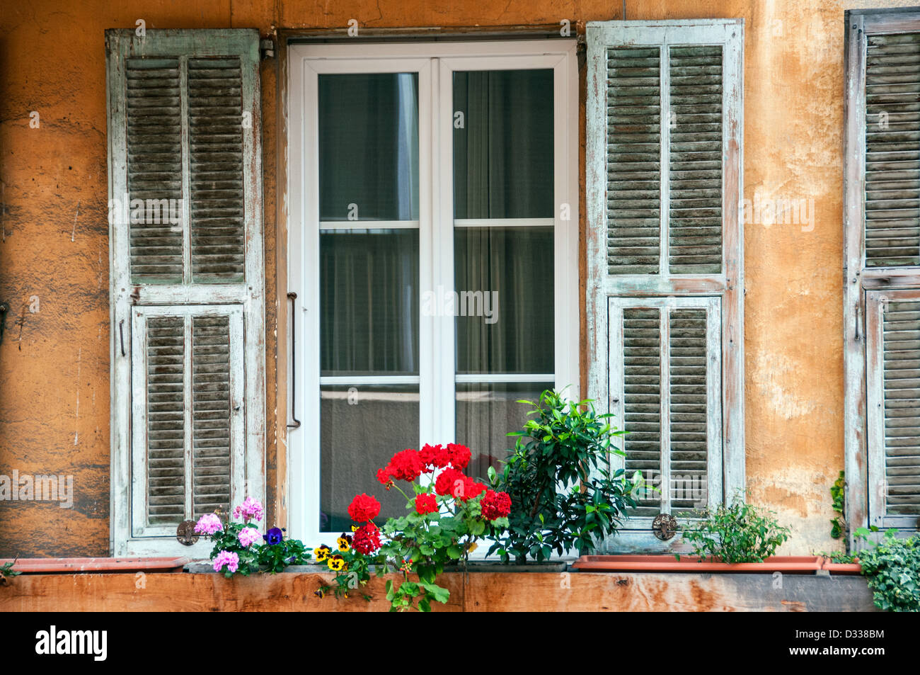 Windows in the Old Nice France - Stock Image