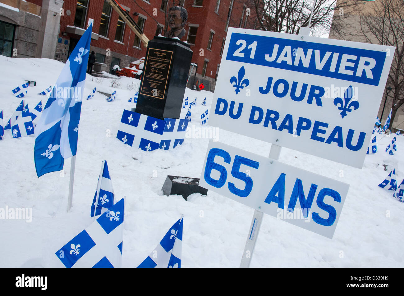 Montreal, Quebec : 21 st January is Fleurdelisé day ( the Quebec flag day) . More information in the description Stock Photo