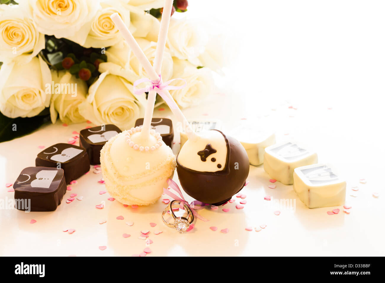 Chocolate cake pops decorated for the wedding party Stock Photo ...