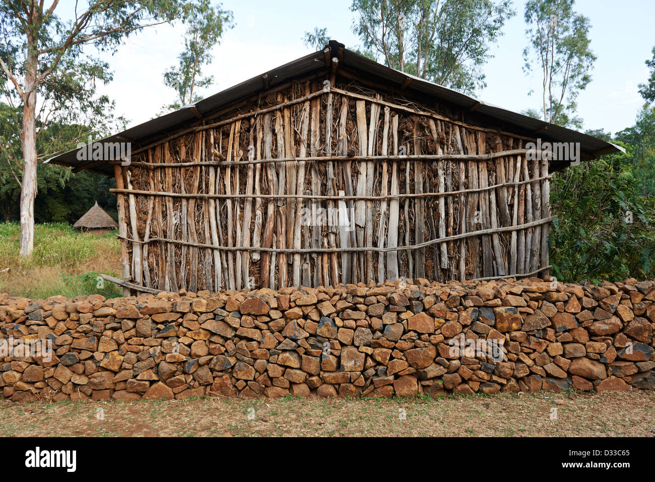 A traditional Ethiopian home constructed of local resources such as wood and timber - Stock Image
