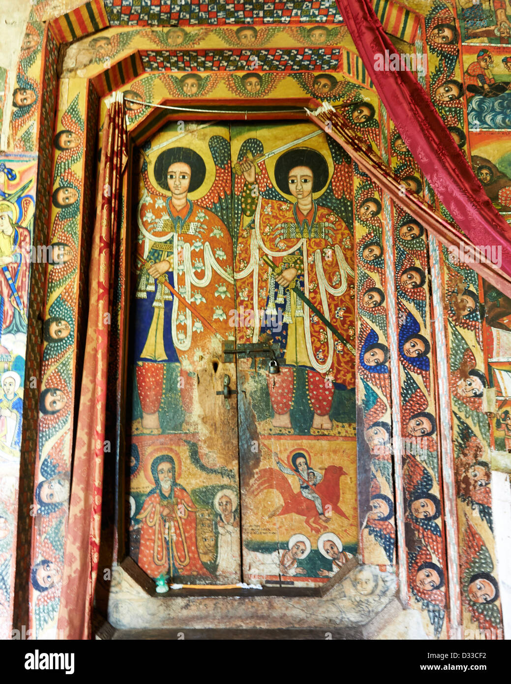 Paintings at The Ura Kidane Mihret, an Ethiopian Orthodox Church located on the Zege Peninsula in Lake Tana, Ethiopia. - Stock Image