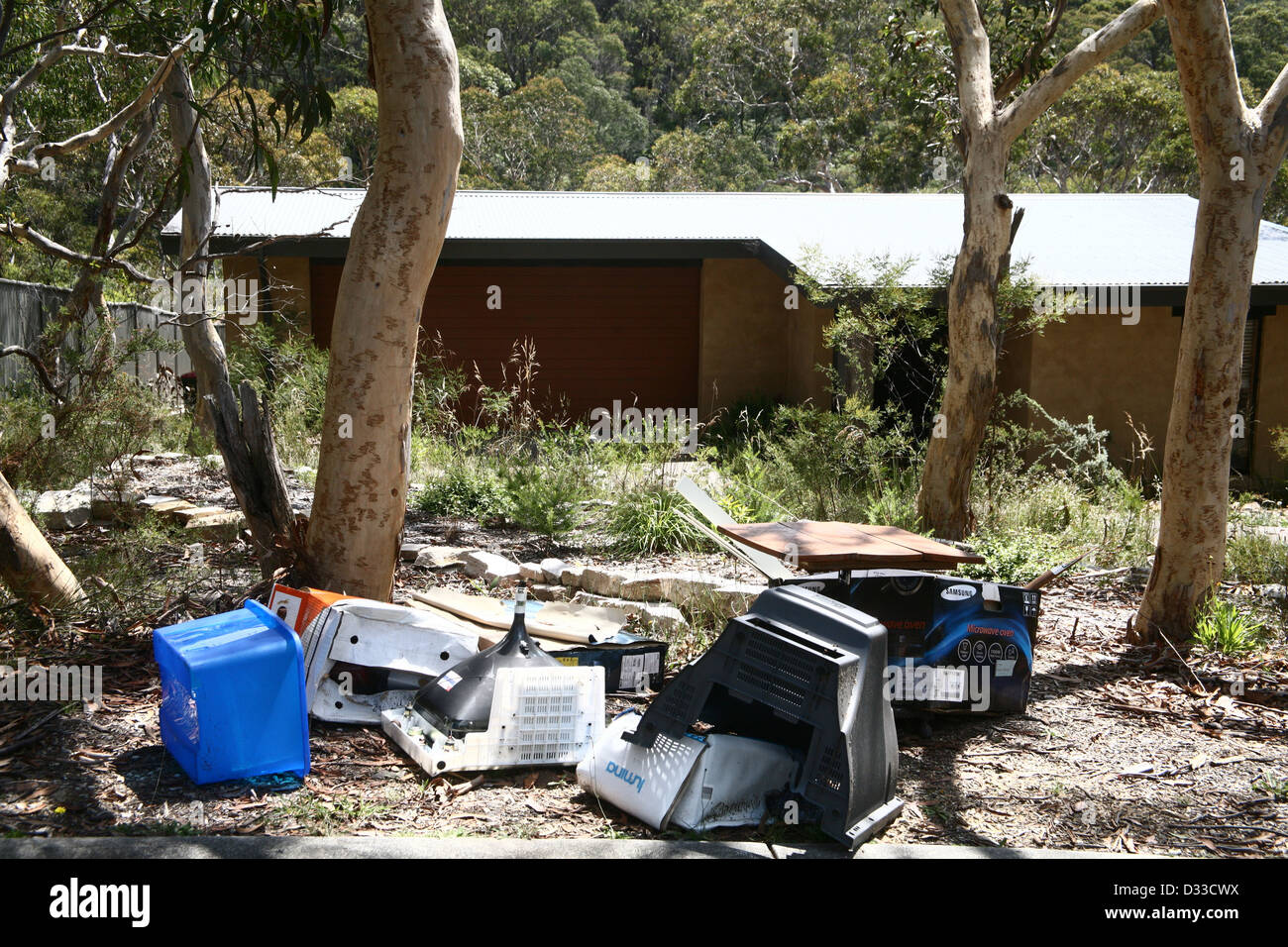 Household rubbish for recycling and landfill Australia - Stock Image