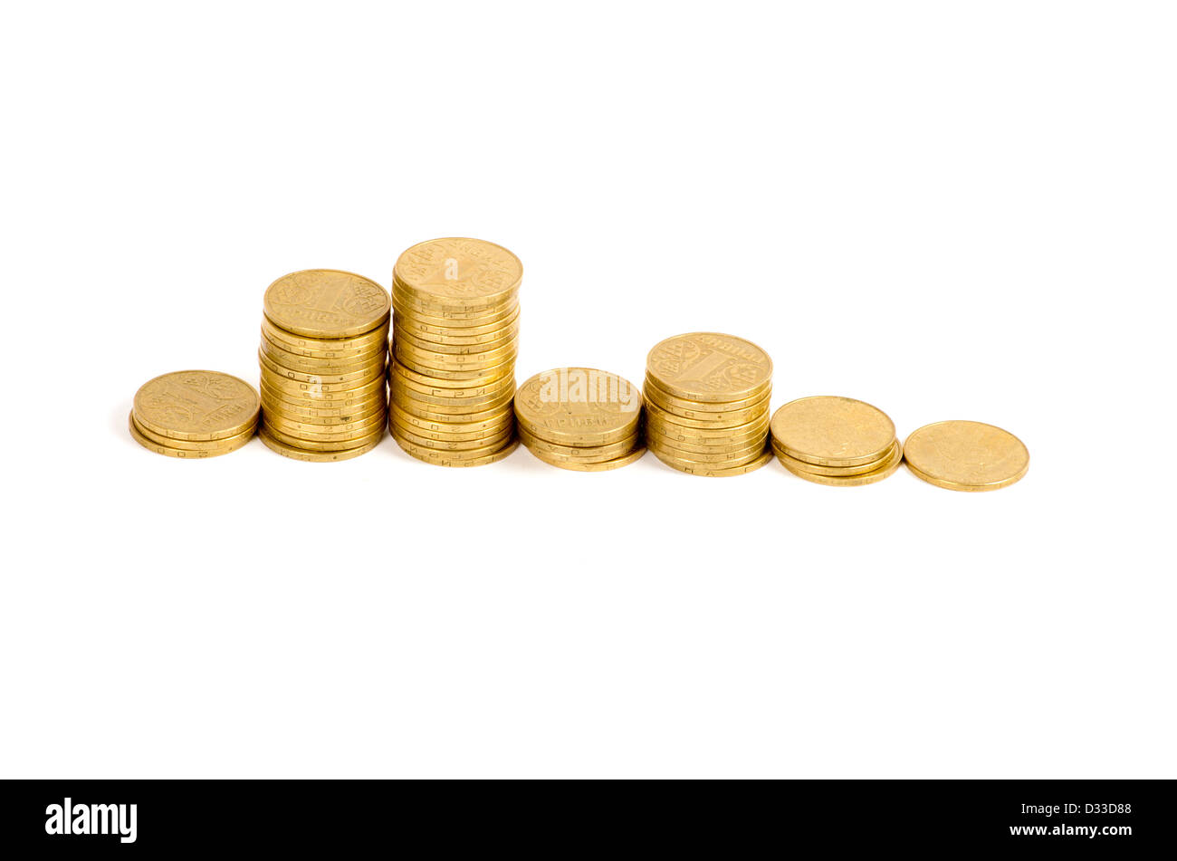 graph of the columns of coins Stock Photo