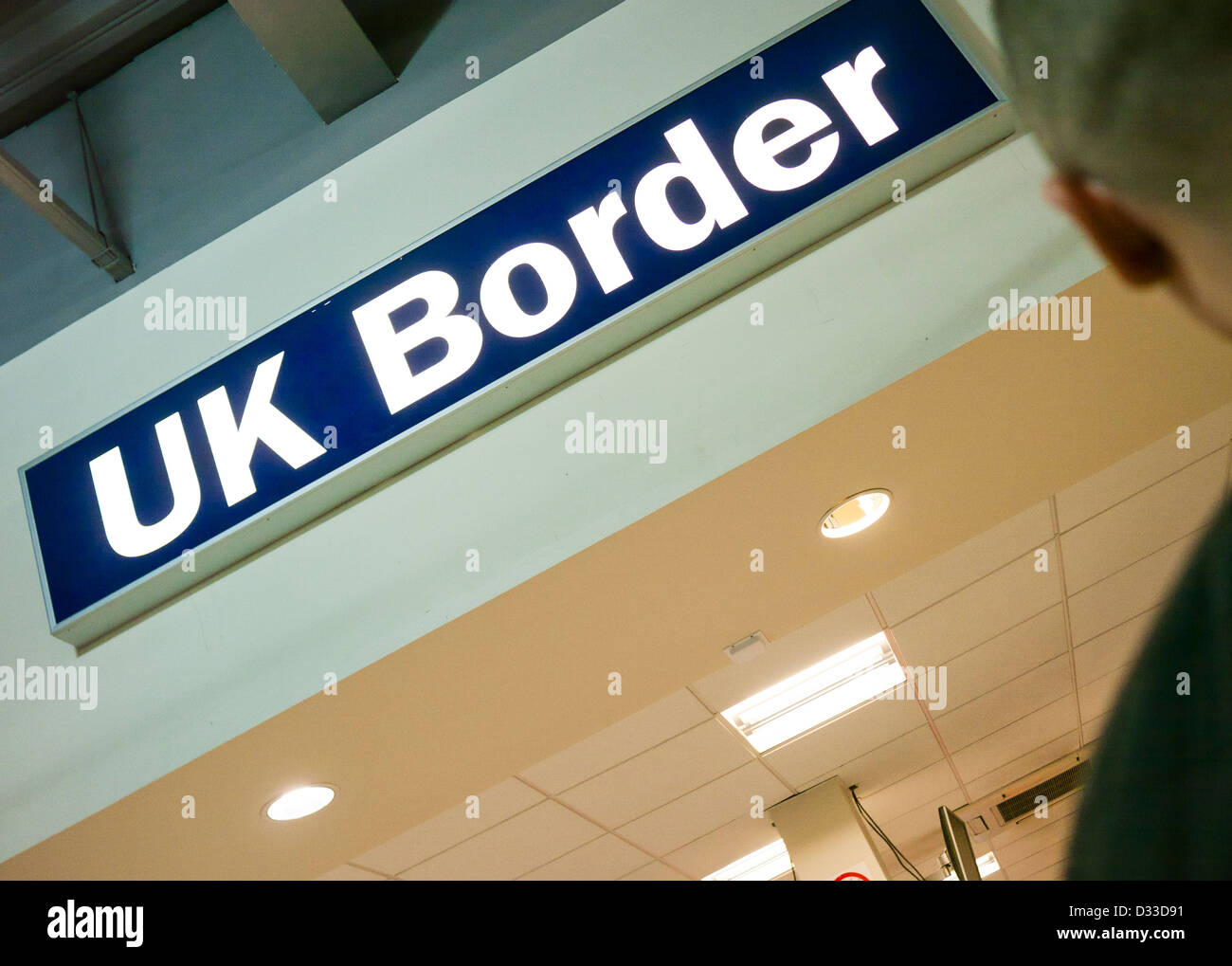 UK Border Agency control sign at an airport in Britain - Stock Image