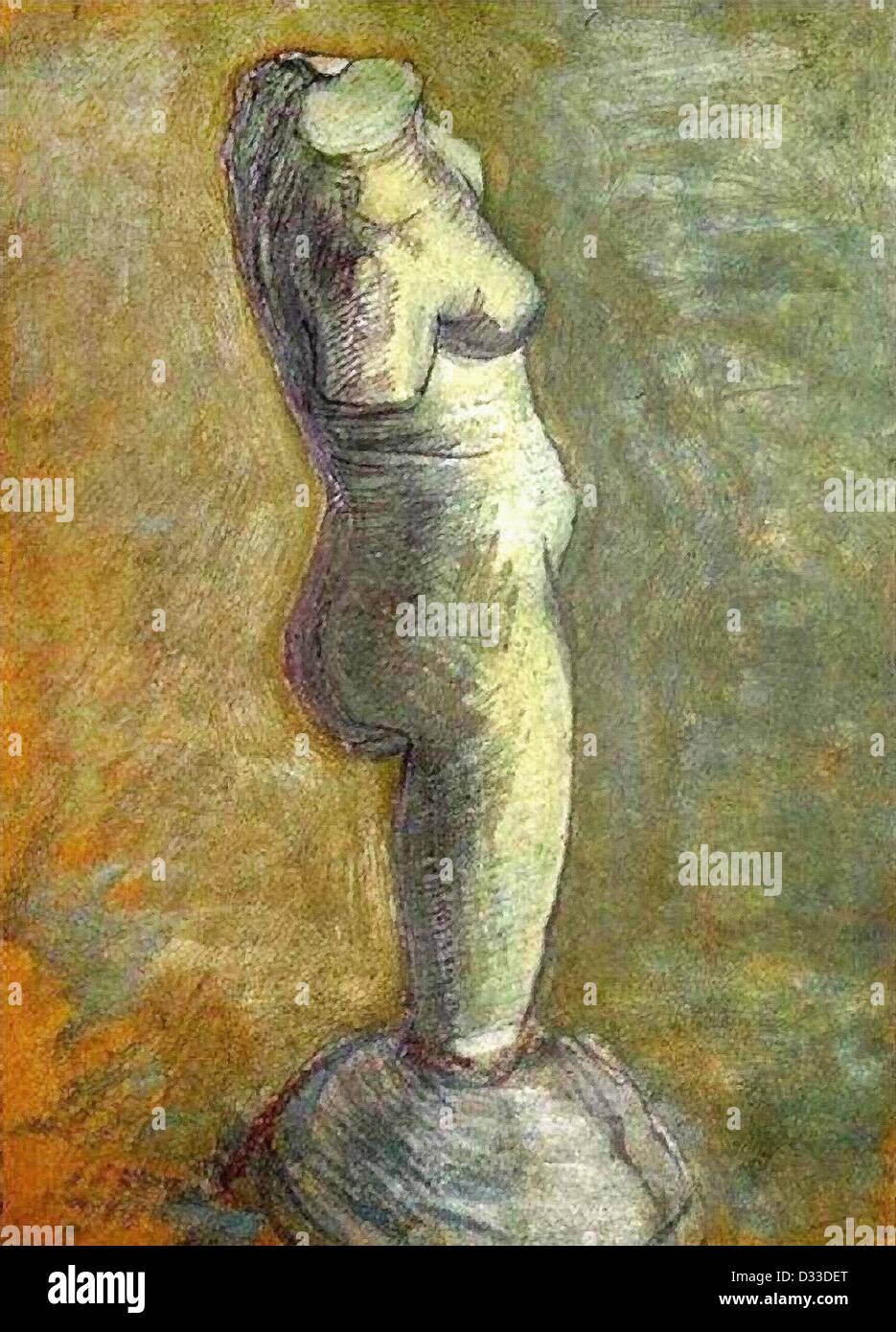 Vincent van Gogh: Plaster Statuette of a Female Torso. 1886. Oil on cardboard. Van Gogh Museum, Amsterdam, Netherlands. - Stock Image