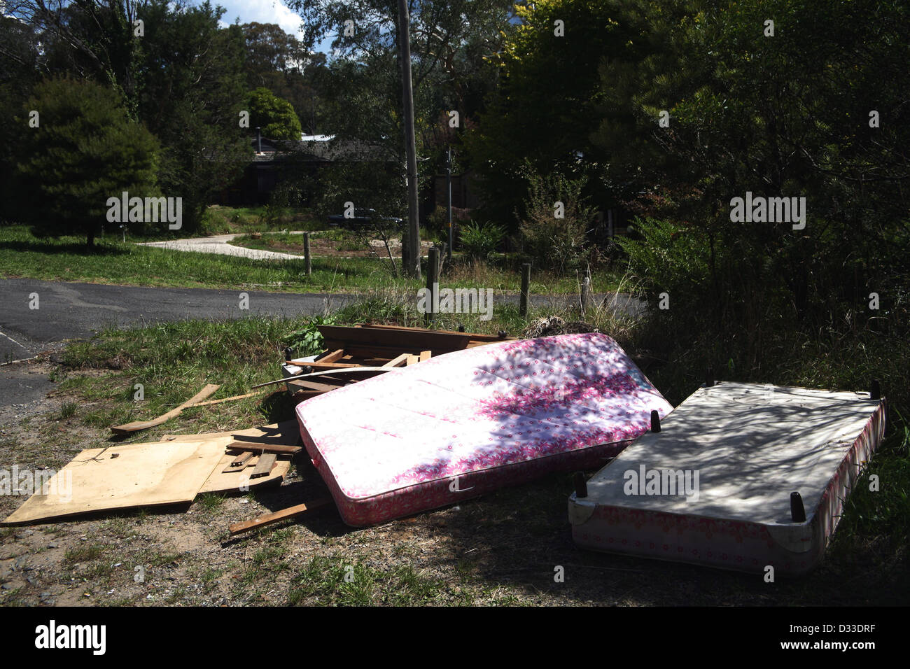 Old mattresses by the road waste NSW - Stock Image