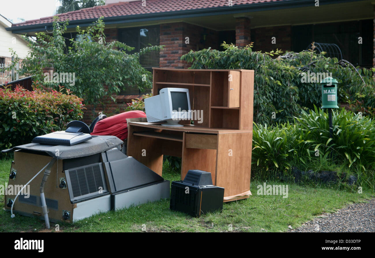 Household stuff thrown out for council collection NSW - Stock Image