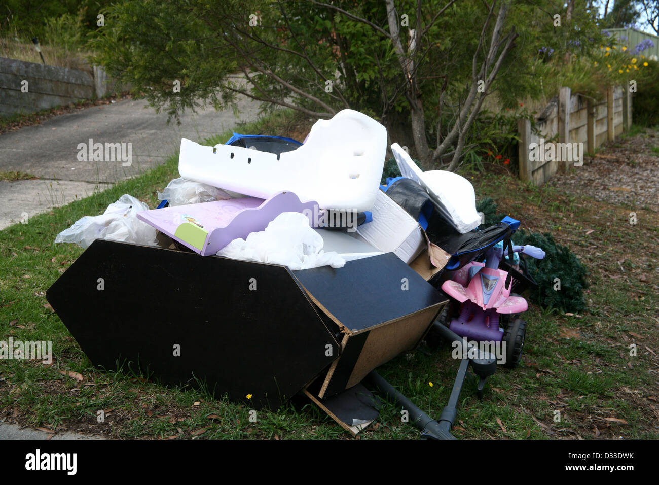 Household rubbish thrown out for council recycling - Stock Image