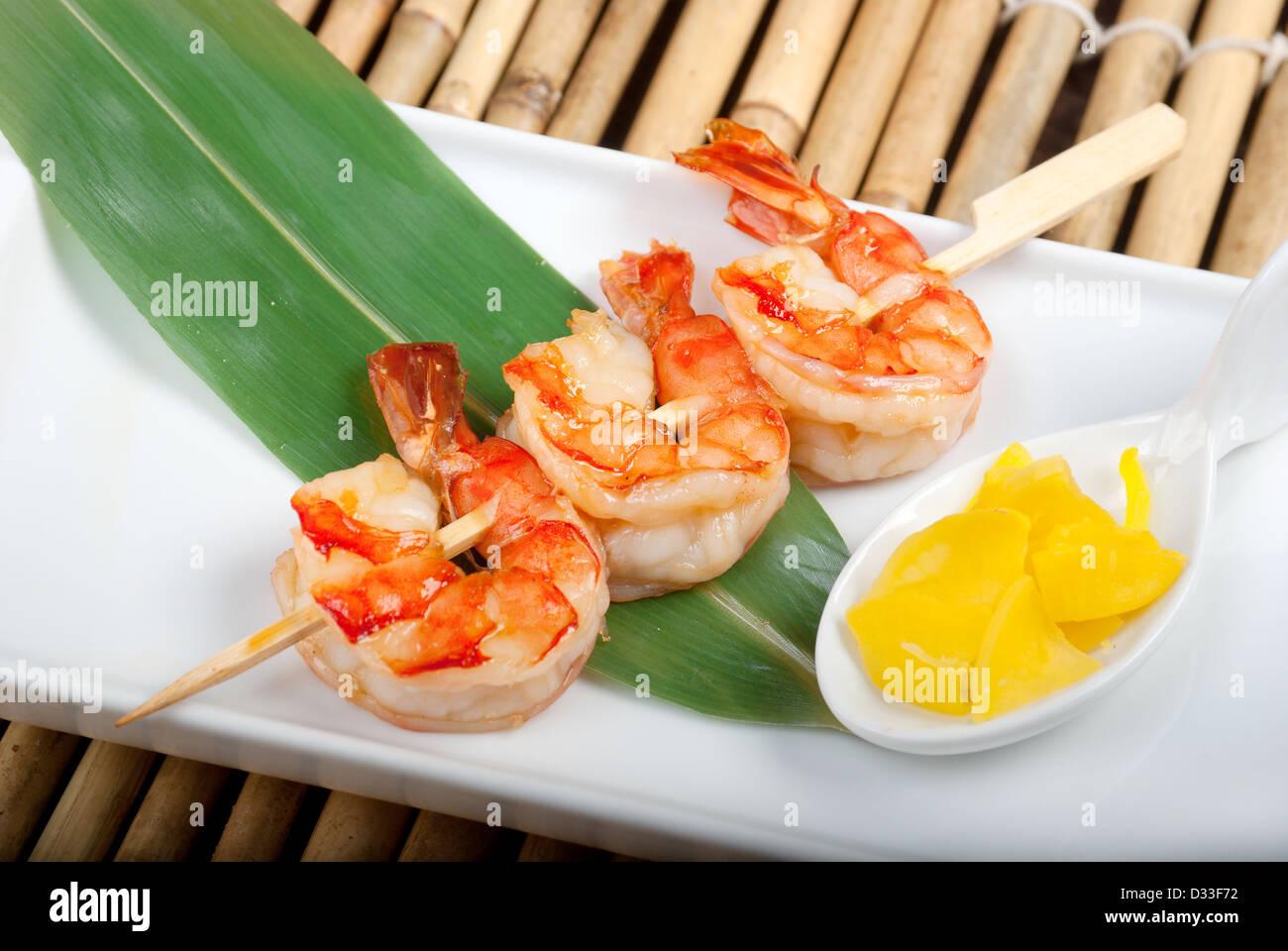 Japanese skewered seafoods royal prawn .closeup - Stock Image