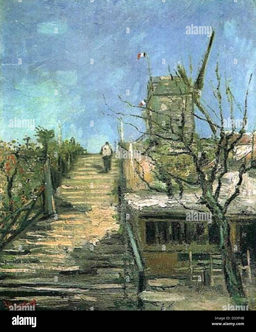 Vincent van Gogh: Windmill on Montmartre. 1886. Oil on canvas. Post-Impressionism. - Stock Image