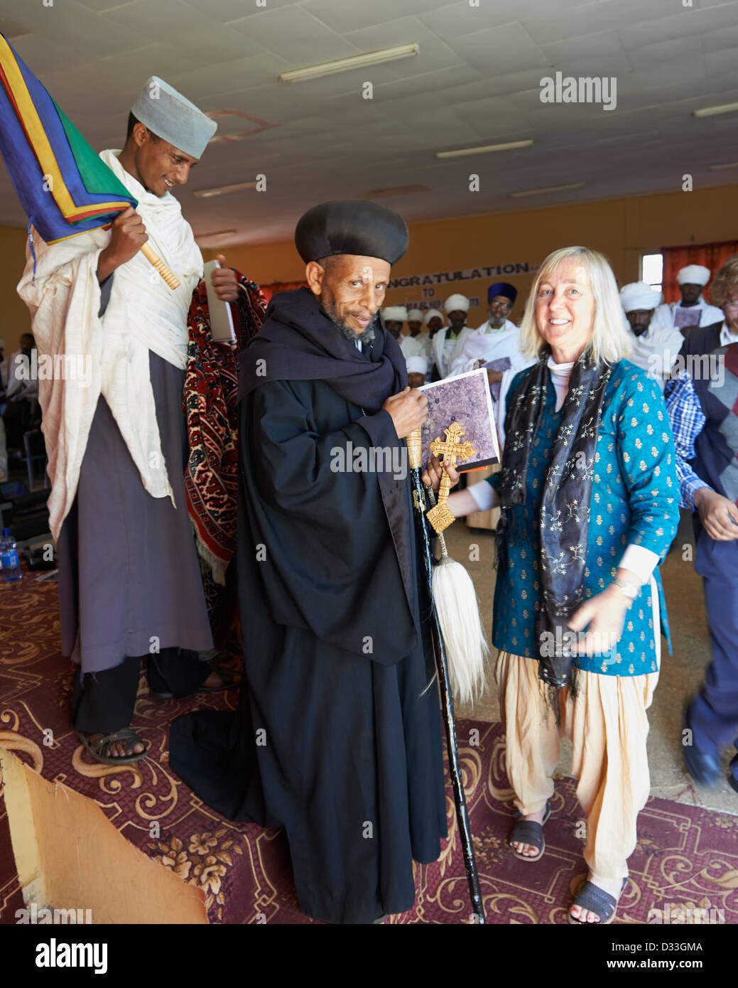 """Margaret """"Canopy Meg"""" Lowman with a Christian Priest at a conference on the conservation of church forests in Ethiopia. Stock Photo"""