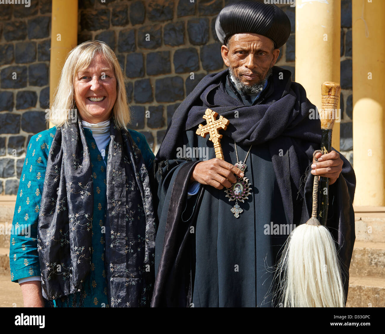 "Margaret ""Canopy Meg"" Lowman with a Christian Priest at a conference on the conservation of church forests in Ethiopia. Stock Photo"