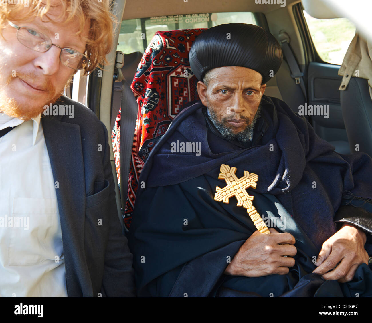 Researcher Travis Reynolds with a Christian Priest at a conference on the conservation of church forests in Ethiopia. Stock Photo