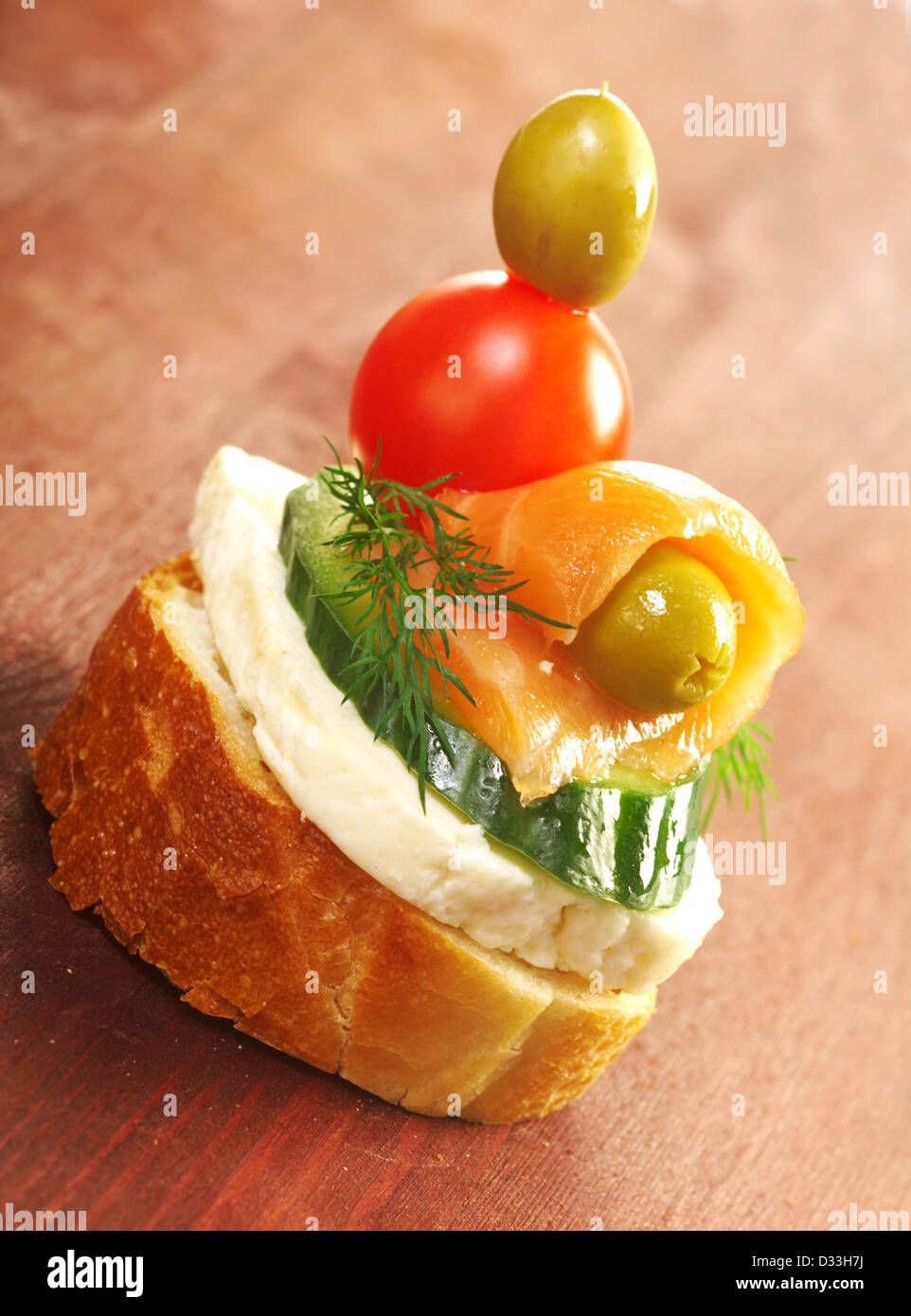 Canapes with smoked salmon close up  - Stock Image