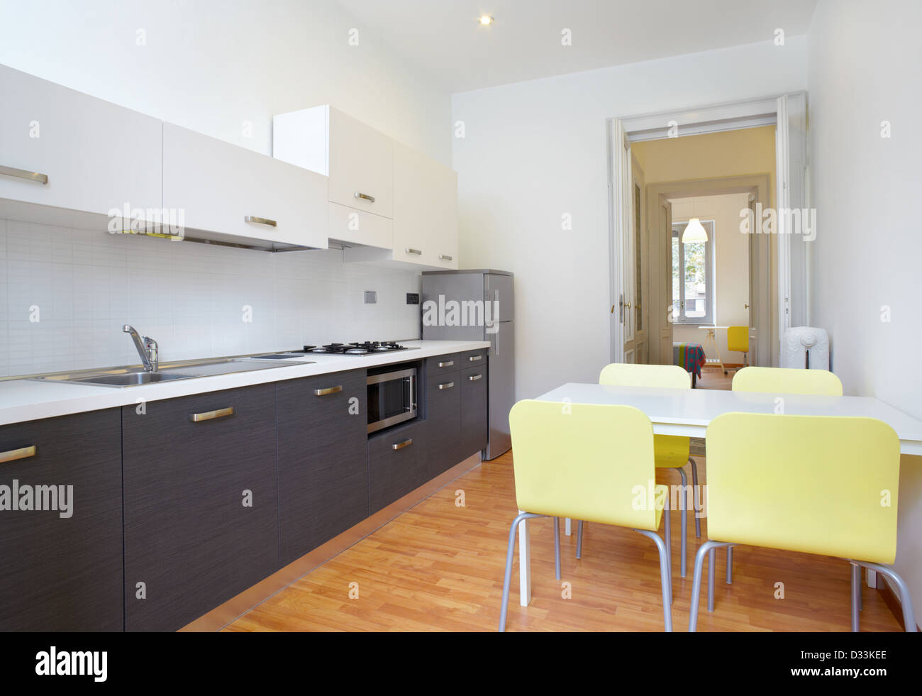 Kitchen in new modern apartment - Stock Image