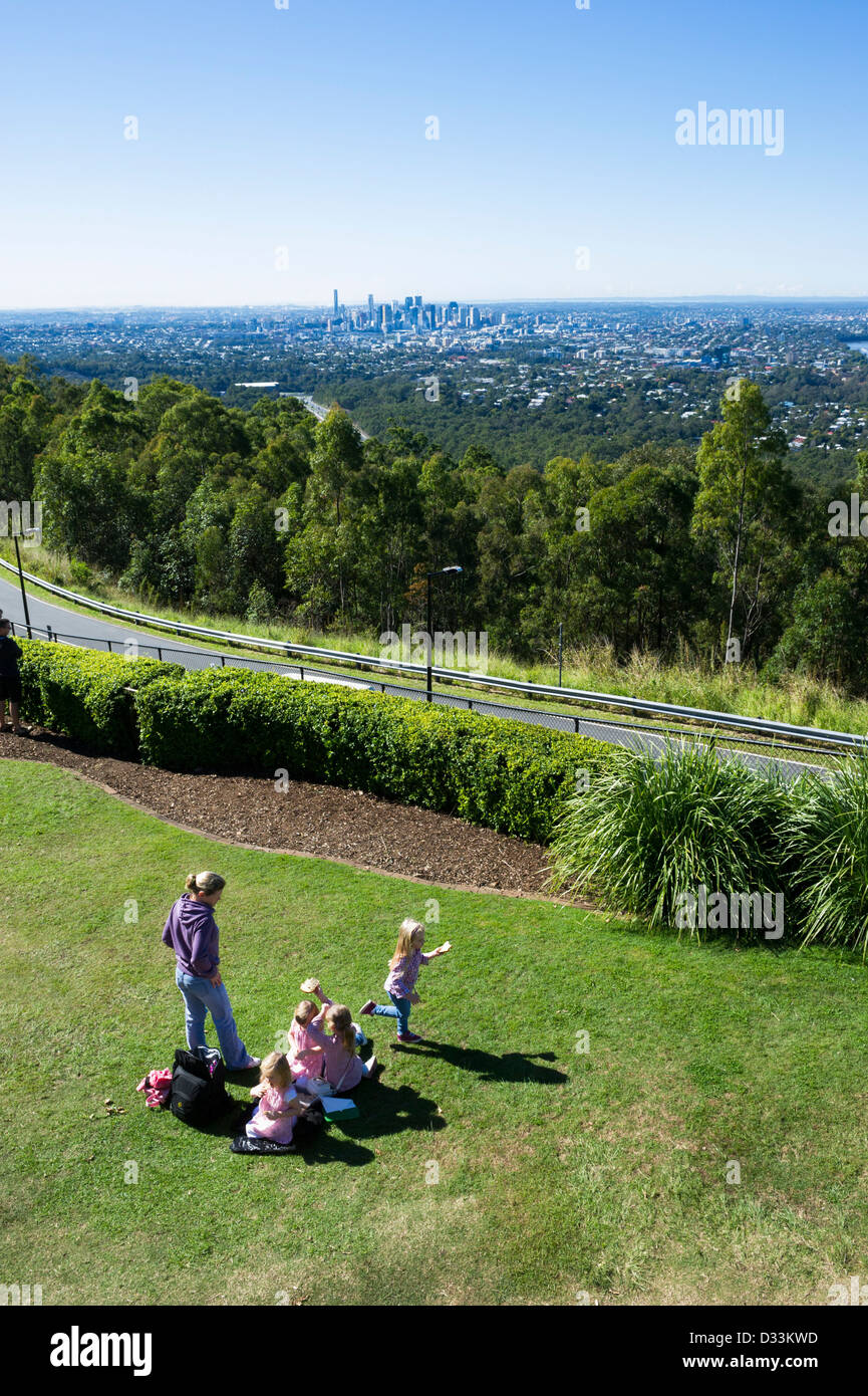Brisbane seen from the viewing platform on Mount Coot-Tha, Queensland, Australia - Stock Image
