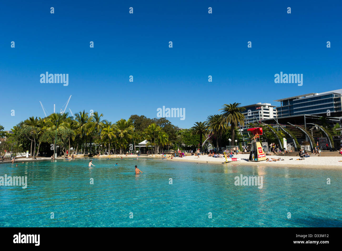 Streets Beach, South Bank Parkland in the middle of Brisbane city centre, Queensland, Australia - man-made beach - Stock Image
