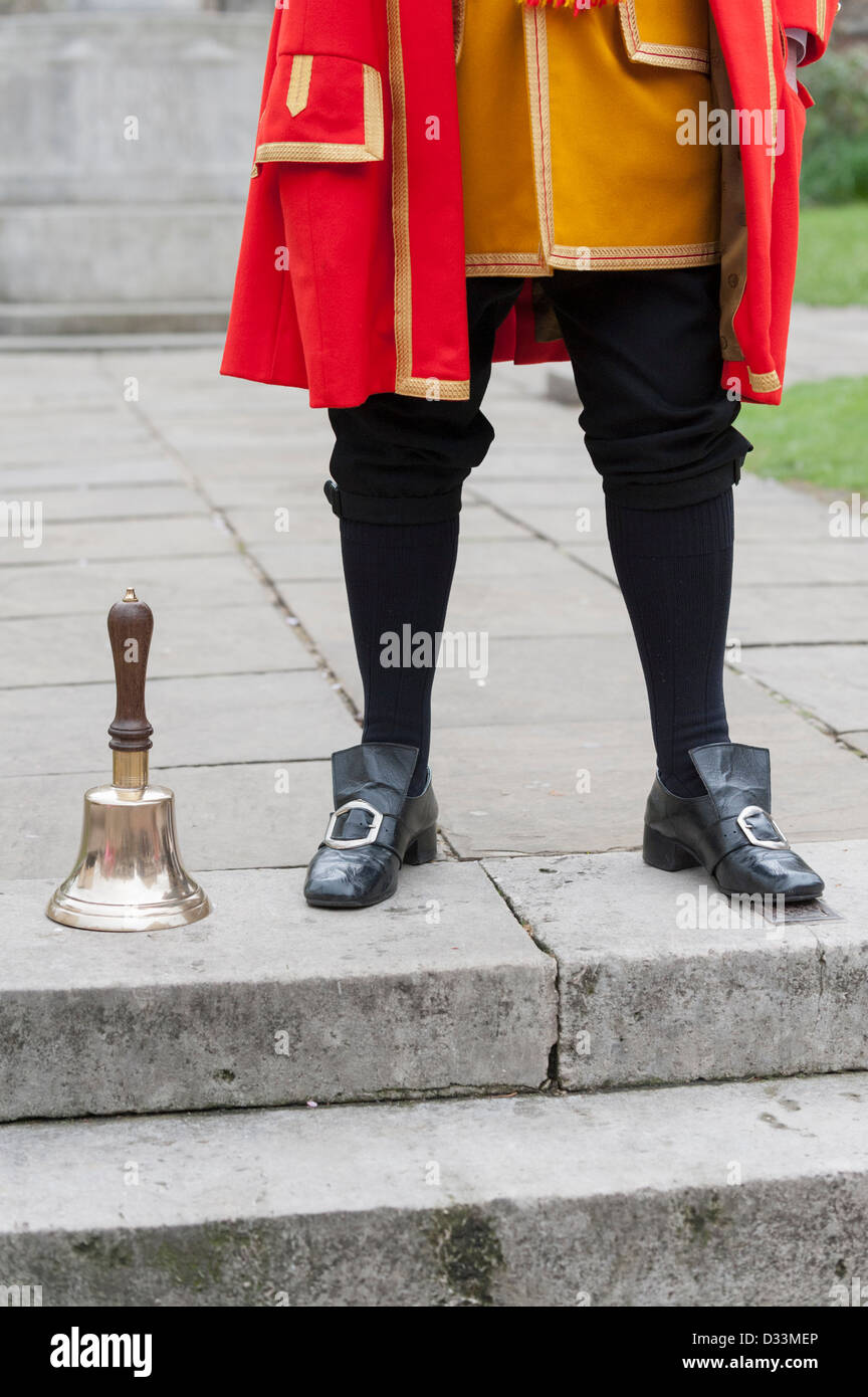 Town Crier of Rochester in Kent with his bell, Rochester, Kent, UK - Stock Image