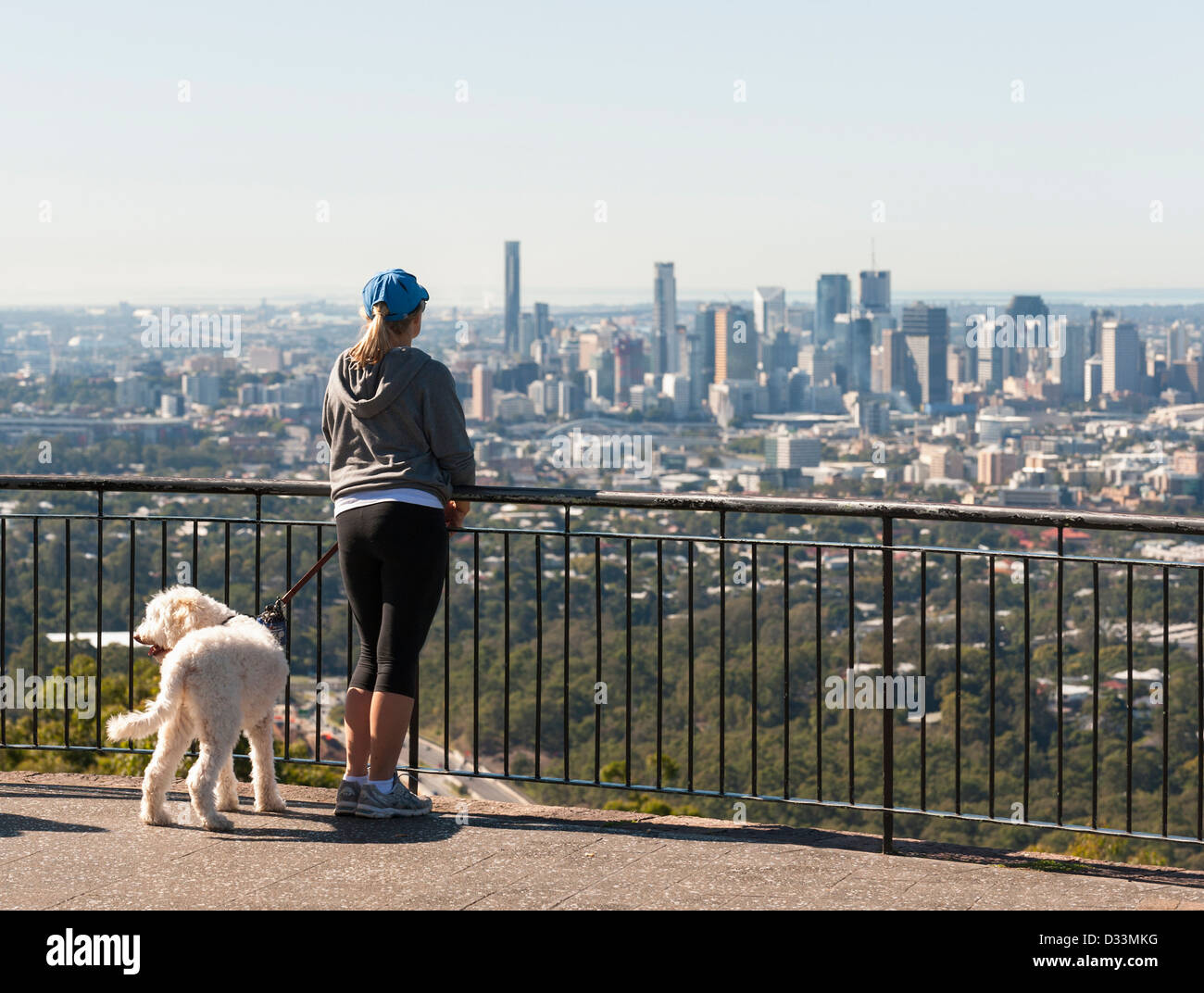 Brisbane city, Queensland, Australia - Woman with dog looking over from Mount Coot-Tha viewpoint - Stock Image