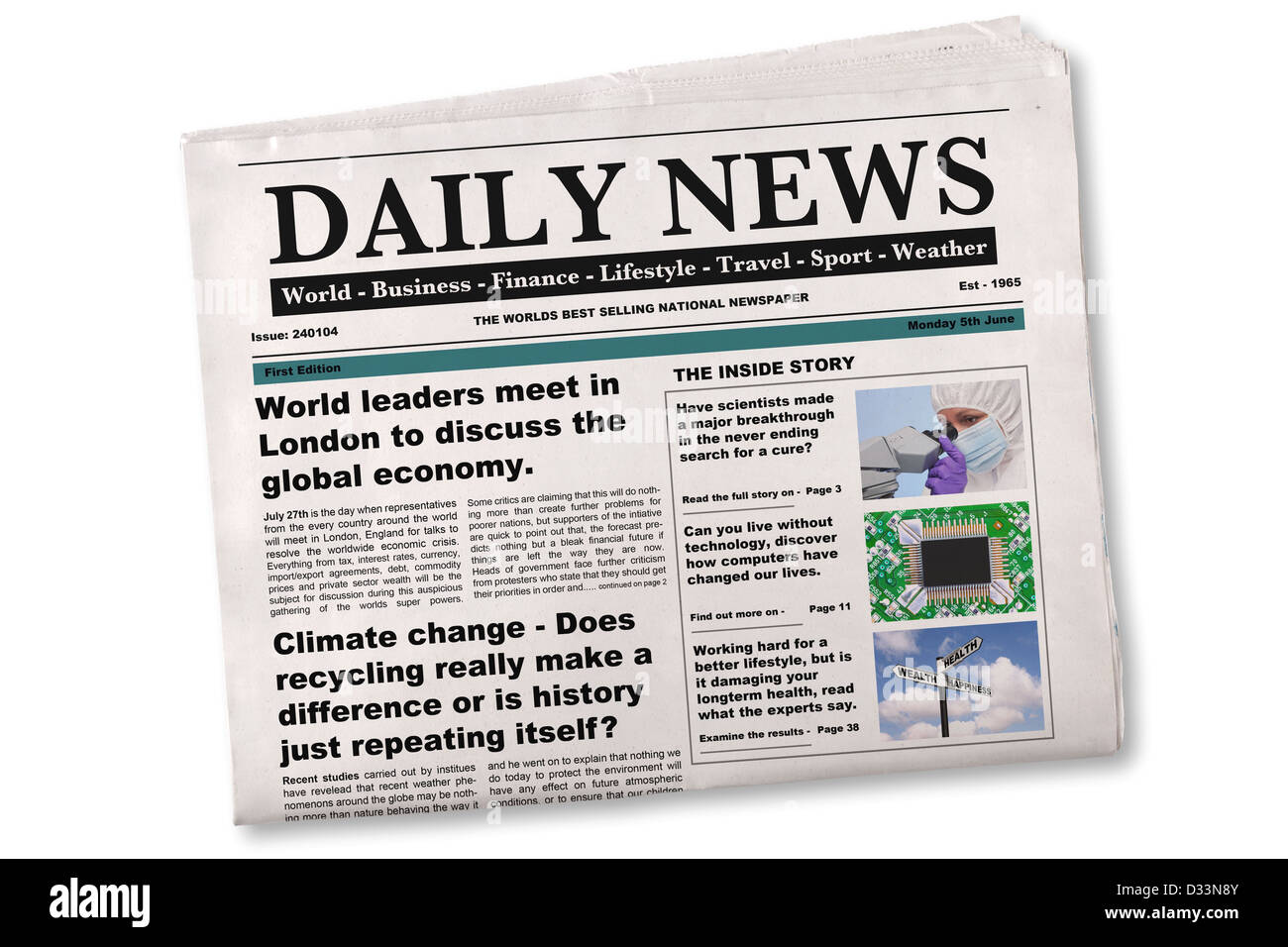 Mock up of a Daily newspaper on a white background. - Stock Image