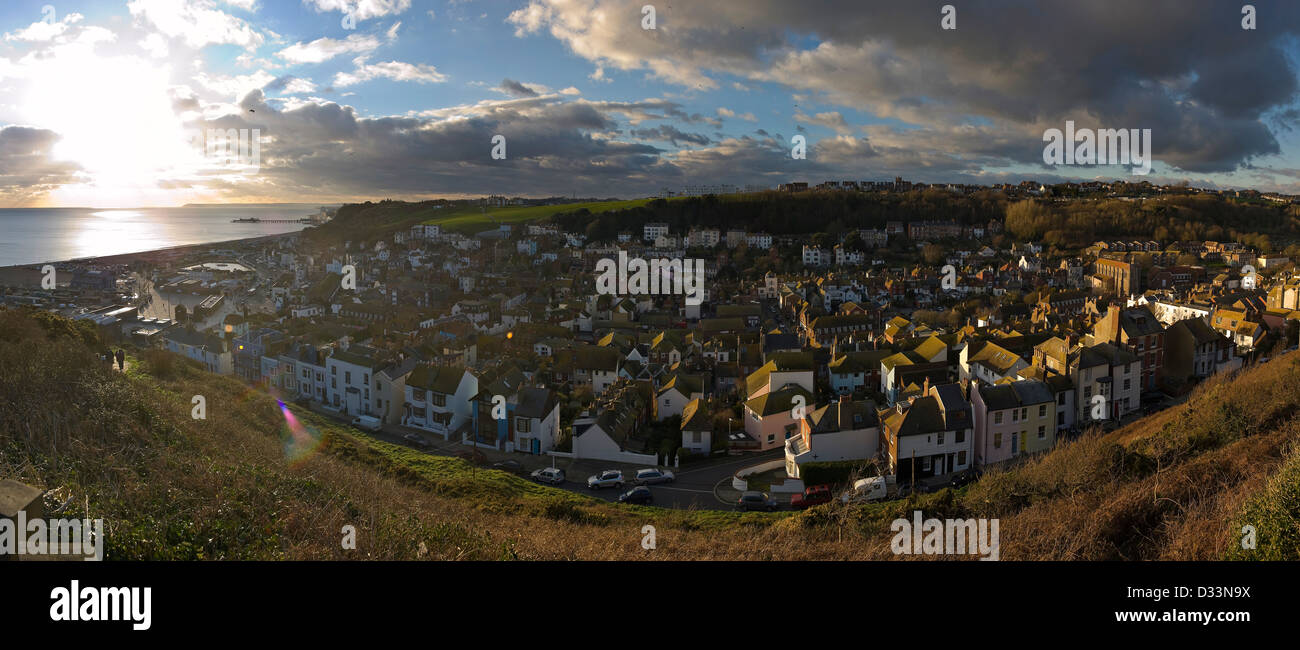 Panorama of Hastings Old Town from East Hill, East Sussex, UK - Stock Image