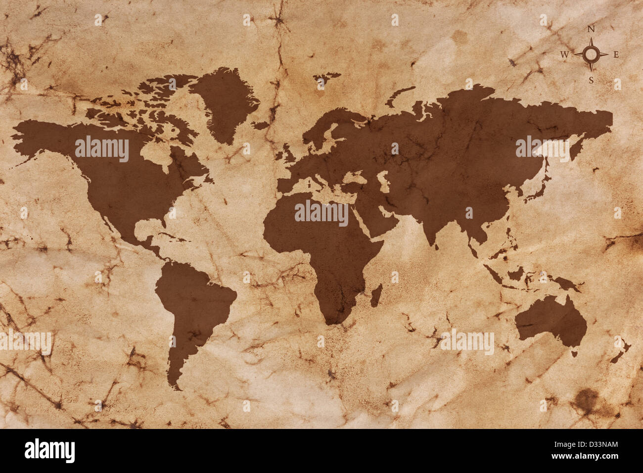 Old World map on creased and stained sepia coloured parchment paper. - Stock Image