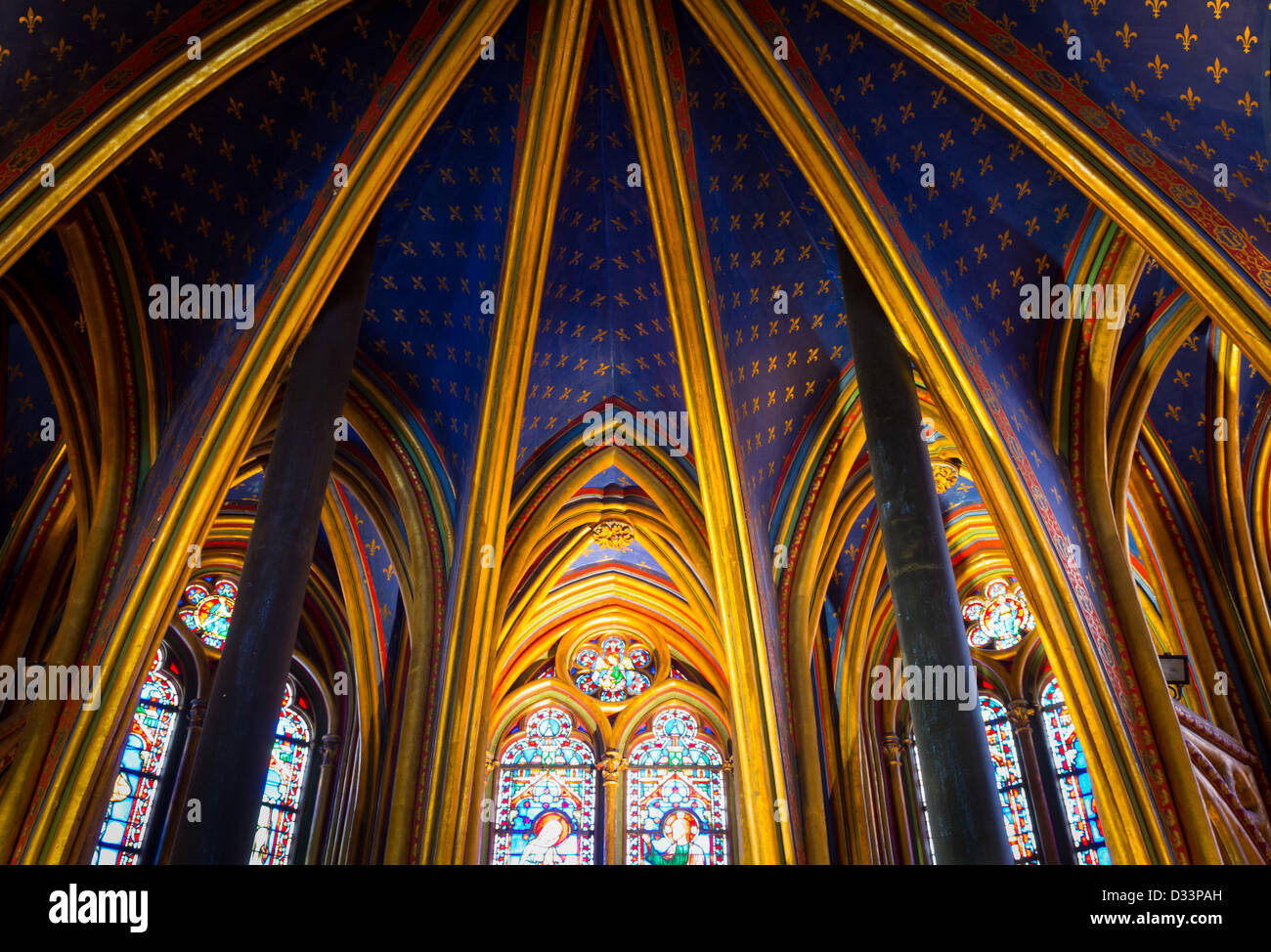 Celing of the lower level of the Saint Chapelle chapel in Paris, France - Stock Image