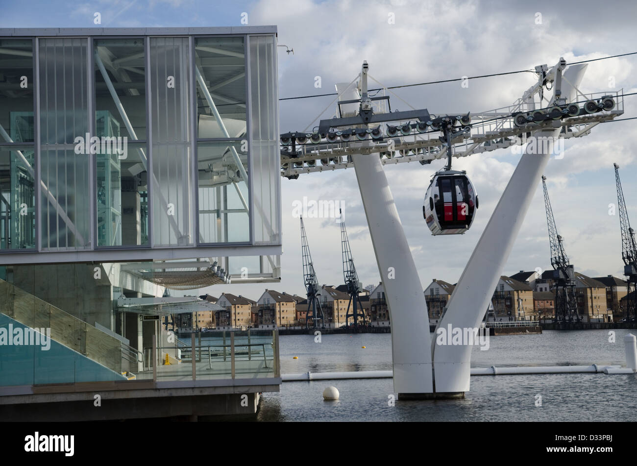 The Emirates Air-Line cable car station at Royal Docks in London's Docklands - Stock Image