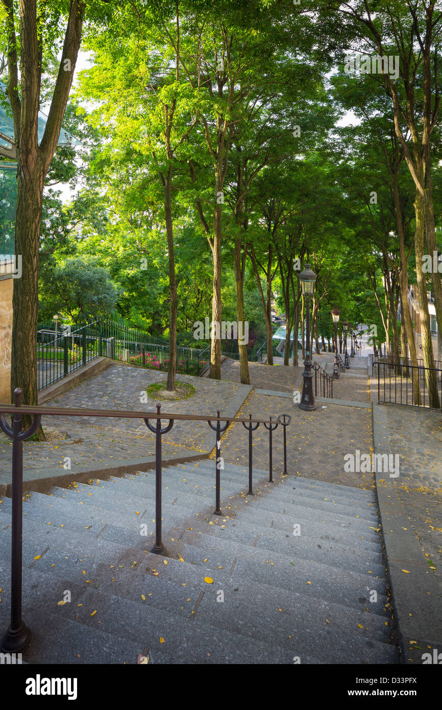 Stairs down from the Butte of Montmartre in Paris - Stock Image