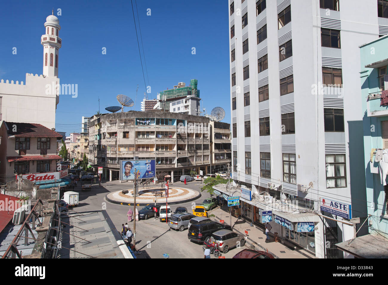 View down India Street in central Dar es Salaam, Tanzania. - Stock Image