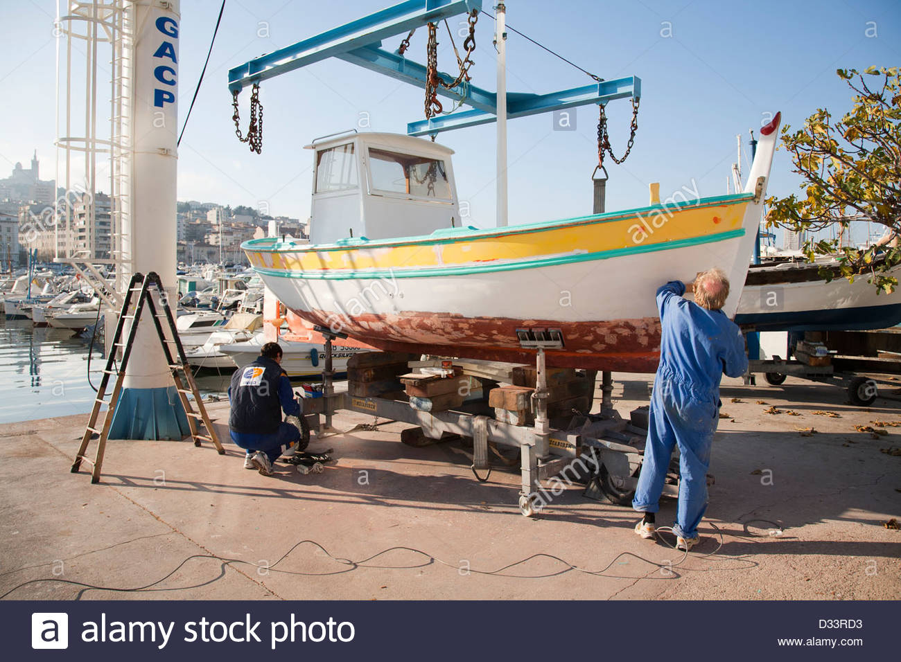 maintenance of a boat,old town,the harbor area,marseille,provence,france,europe - Stock Image