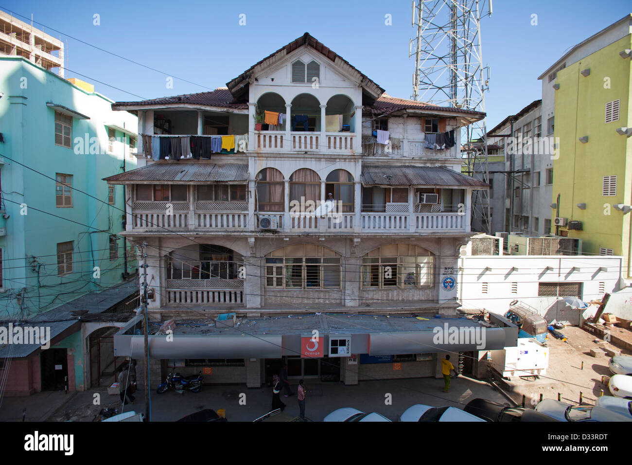 A 1930s Indian built house in downtown Dar es Salaam, Tanzania. - Stock Image