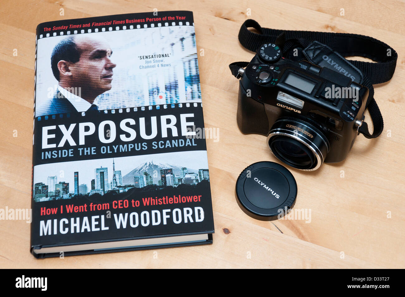 Exposure. Michael Woodford's book on the Olympus accounting scandal. - Stock Image