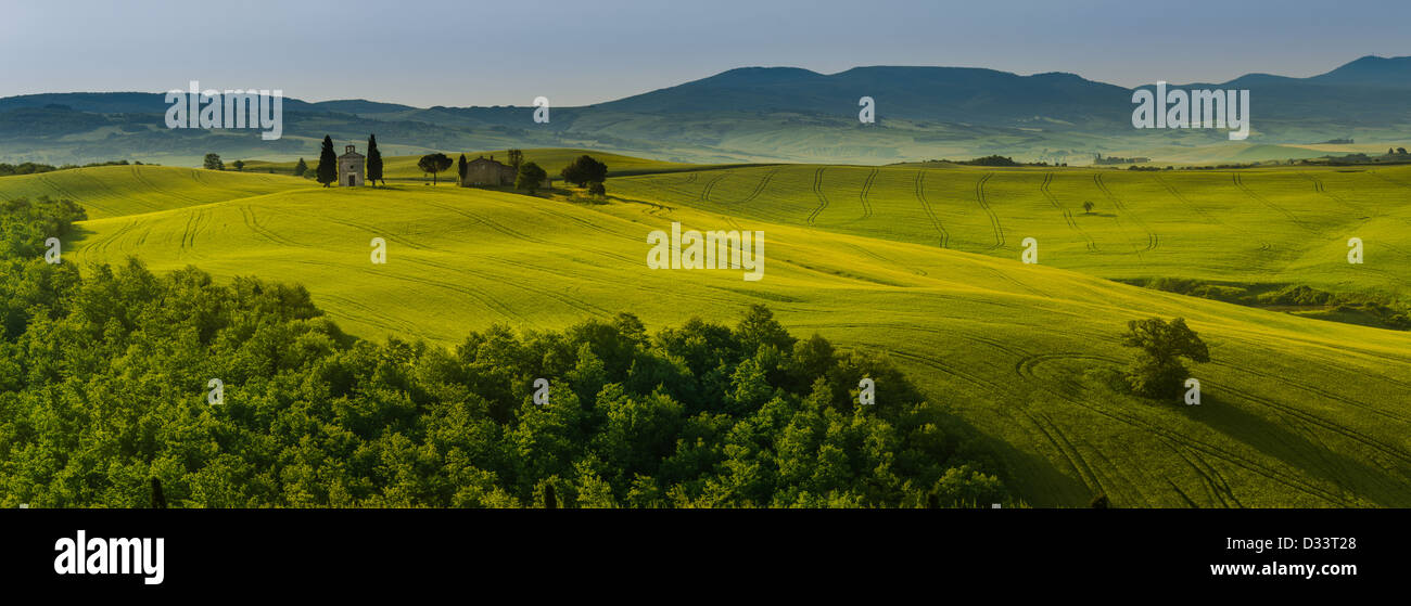 a small church in green fields of tuscany - Stock Image