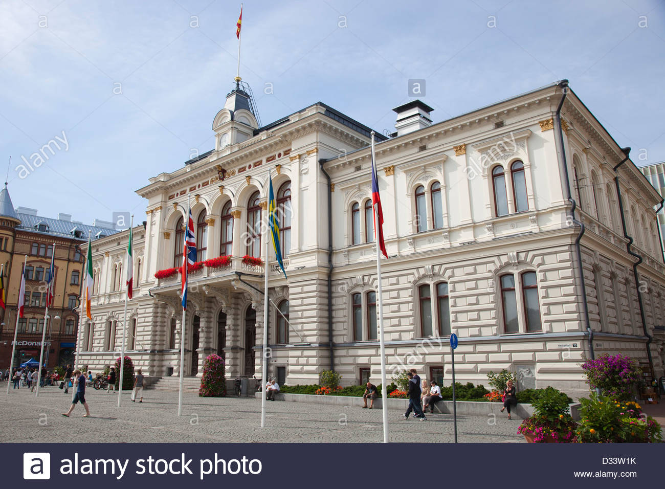 the city hall,central square,tampere,finland,europe - Stock Image