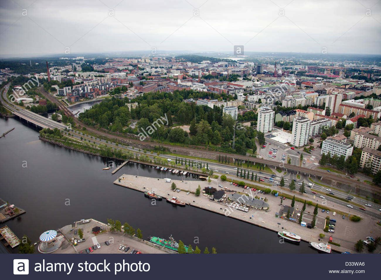 panoramic view from the television tower,tampere,finland,europe - Stock Image