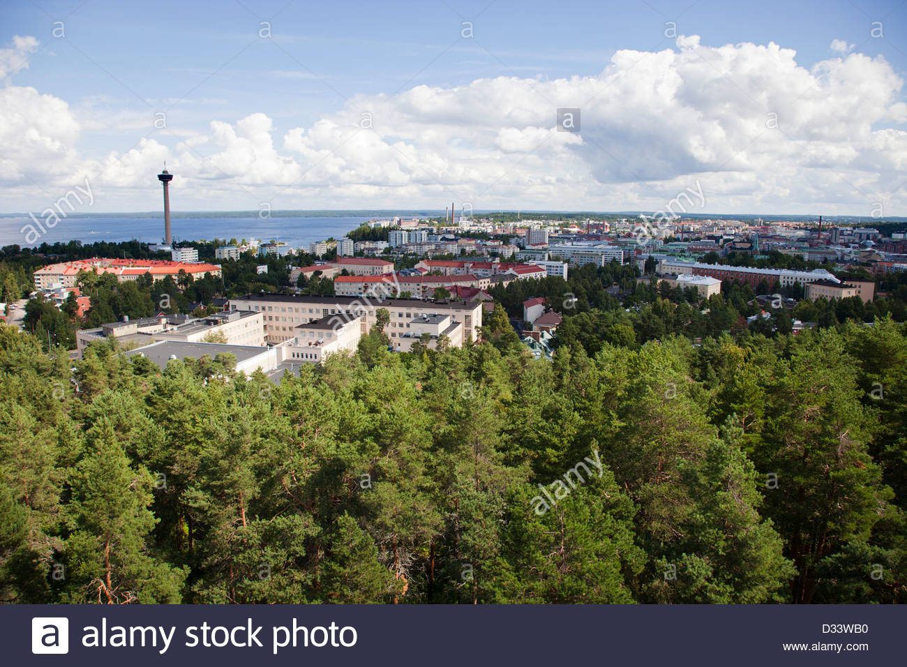 panoramic view from the observation tower,tampere,finland,europe - Stock Image
