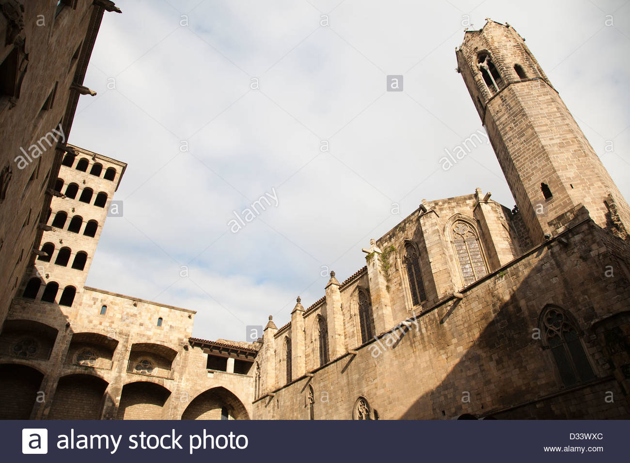palau real major,placa del rei,gothic quarter,barcelona,catalonia,spain,europe - Stock Image