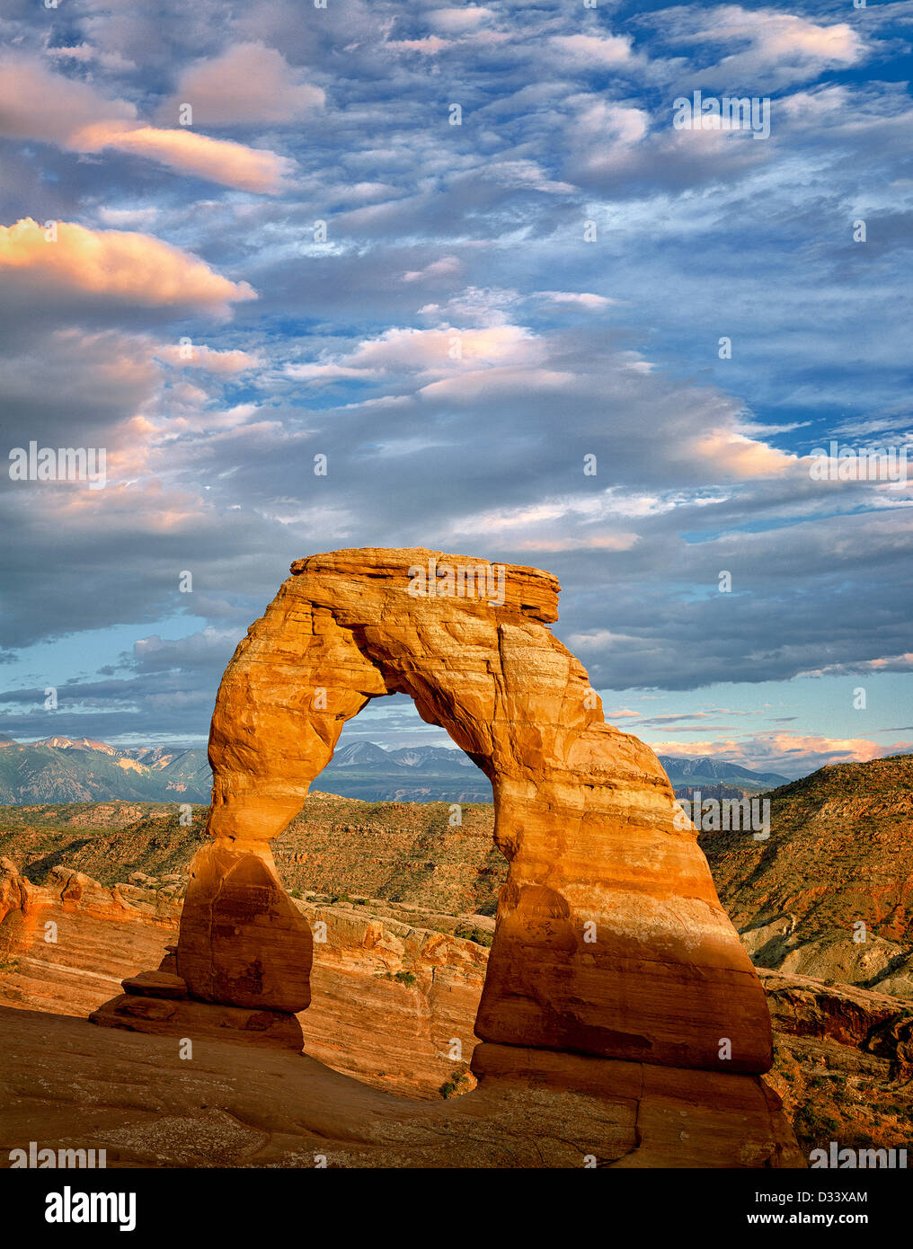 Delicate Arch at sunset. Arches National Park. Utah. - Stock Image